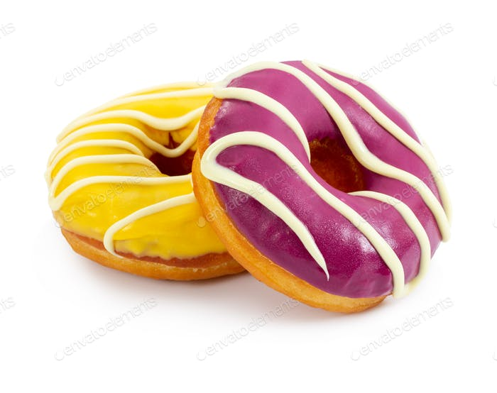 Two colorful donuts with stripes isolated on white