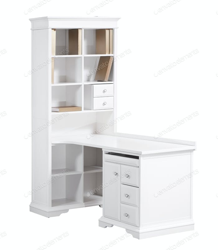 Home white wooden workstation (desk and bookcase)