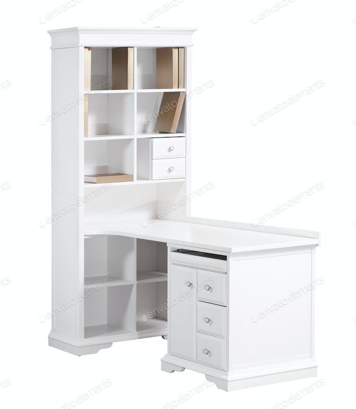 Home weißer Holzarbeitsplatz (Schreibtisch und Bücherregal)