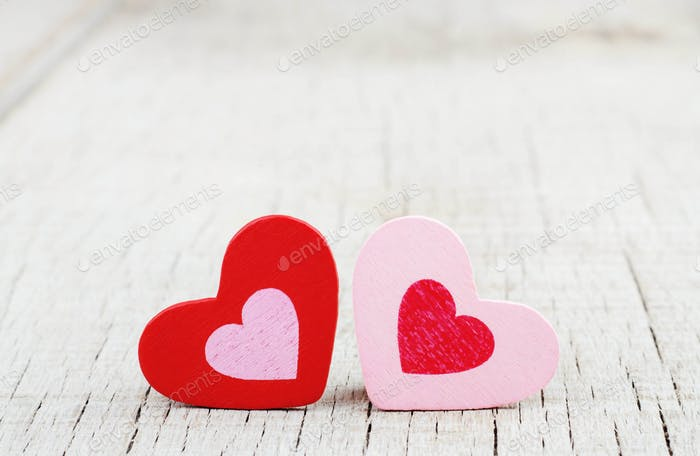 hearts on wooden