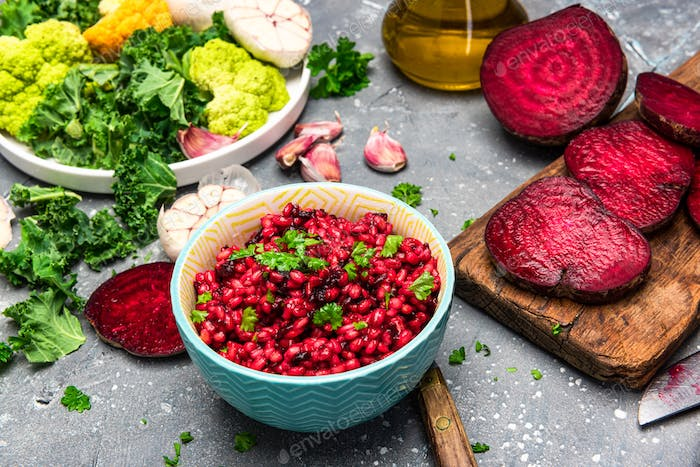Cooking Vegetarian Plant Based Food. Buckwheat Groats with Beetroot and Parsley