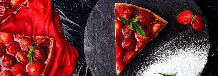 Banner with Strawberry pie on black slate plate. Valentine Day