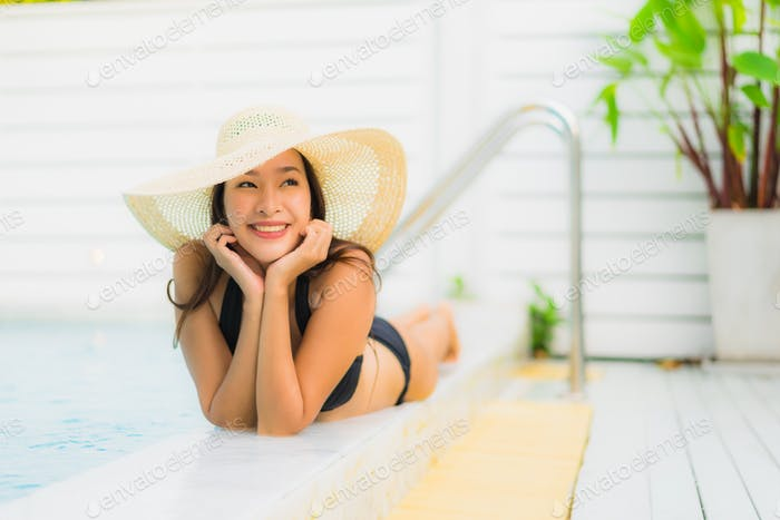 Portrait beautiful young asian woman smile happy relax around sw