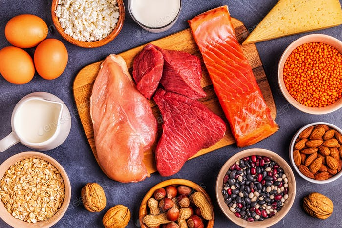 Sources of healthy protein - meat, fish, dairy products.