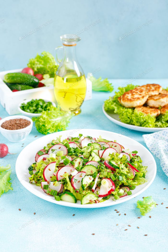 Fresh vegetable salad with radish, cucumbers, lettuce, dill and green onion
