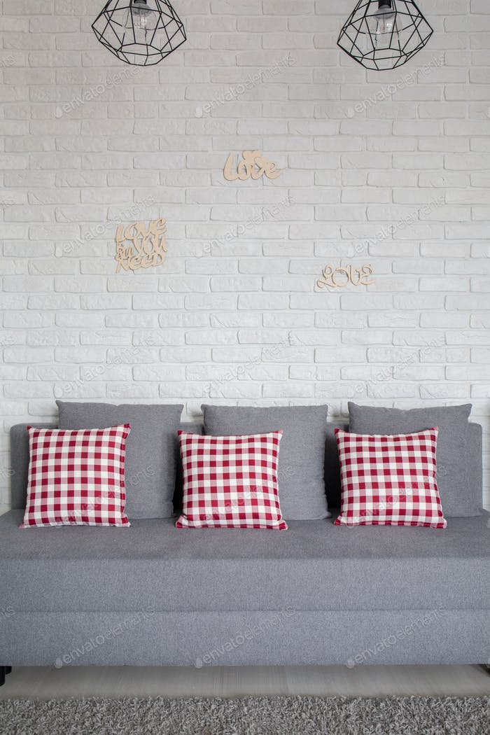 Grey sofa with decorative cushions