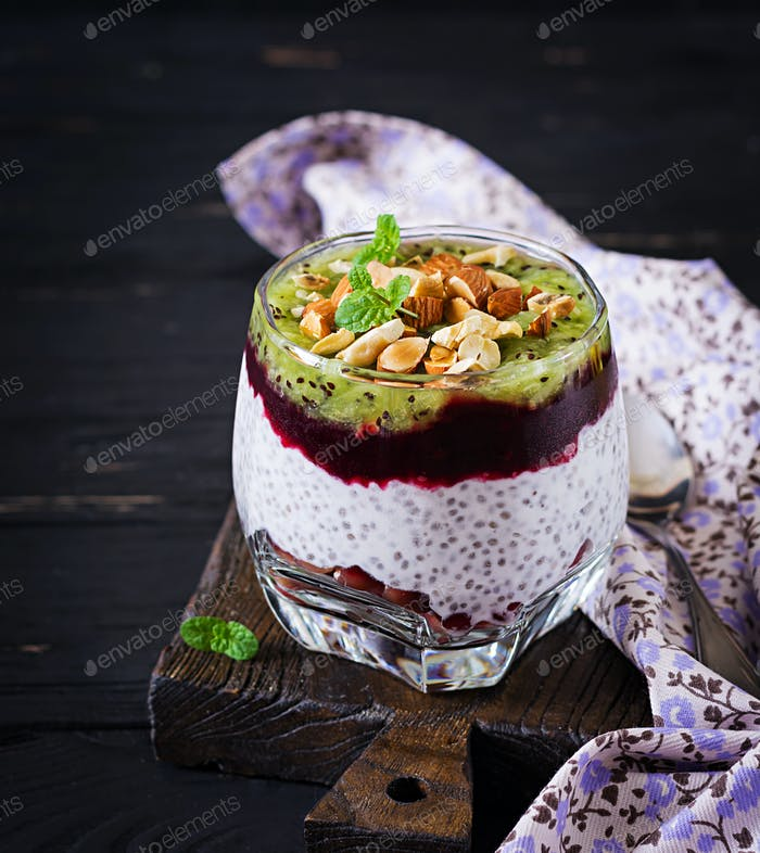 Chia pudding with fresh berries, nuts and mint in glass. Нealthy breakfast.