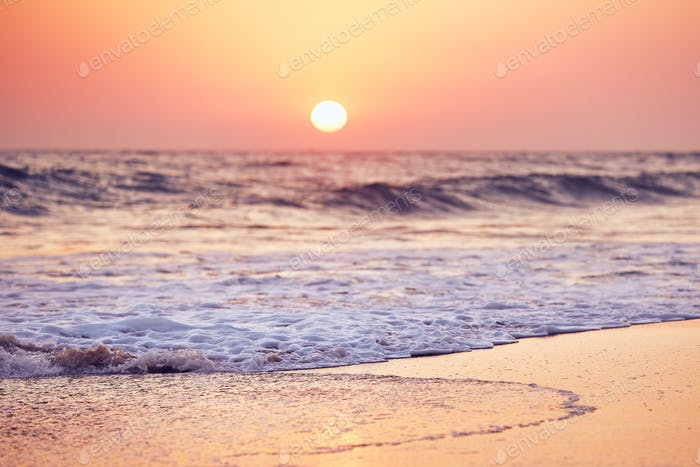 Idyllic sunset on the beach