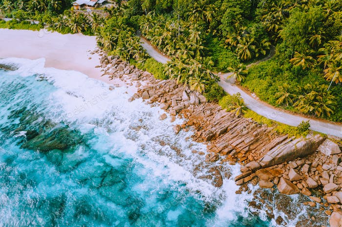 Aerial view of beautiful secluded beach on Mahe island at Seychelles
