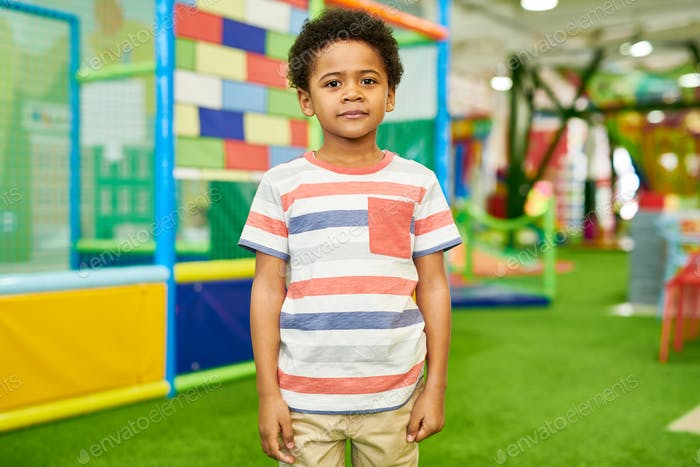 African-American Boy Posing in Play Center