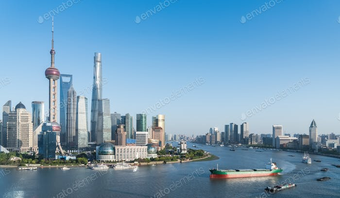 beautiful shanghai cityscape on both sides of huangpu river