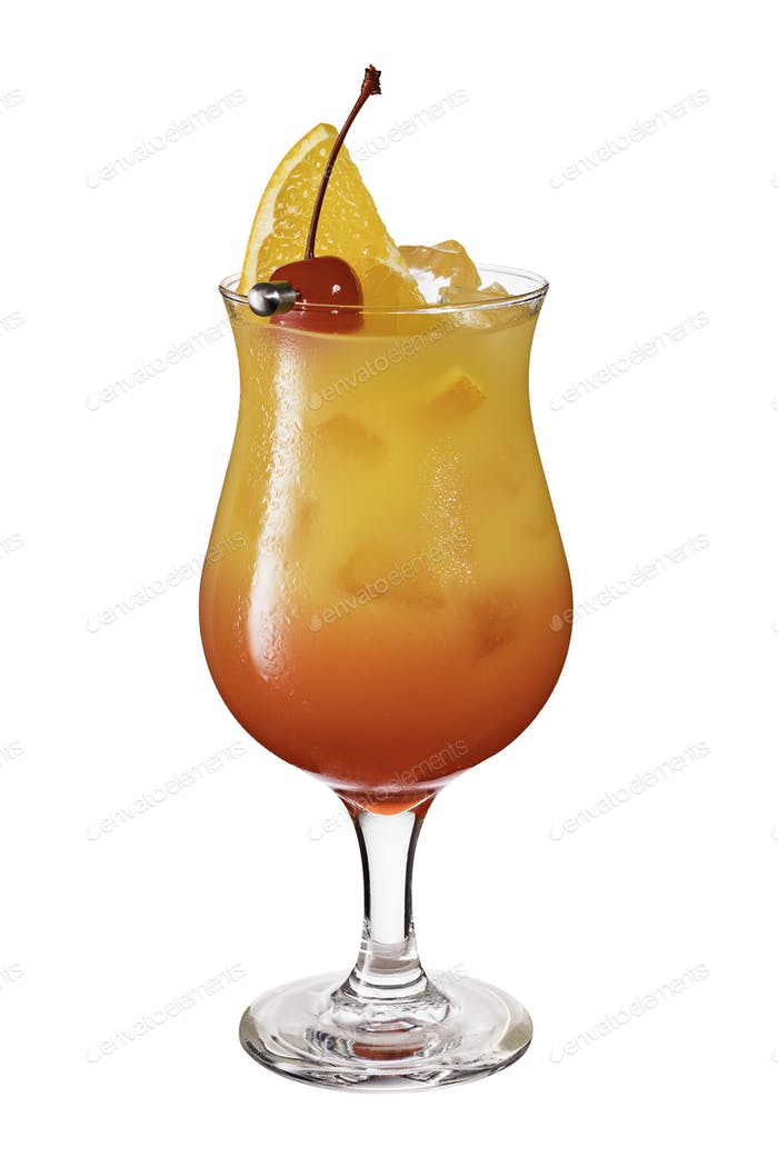 Refreshing Rum Hurricane Cocktail on White