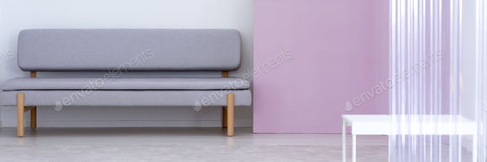 Panorama of grey sofa next to violet wall in living room interio