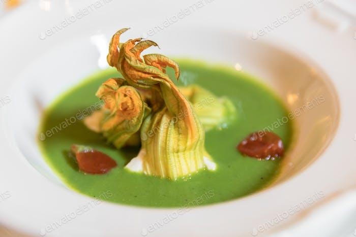 Plate of zucchini soup