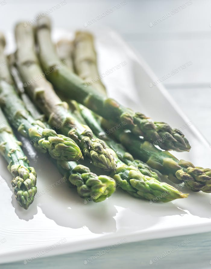 Bunch of cooked asparagus