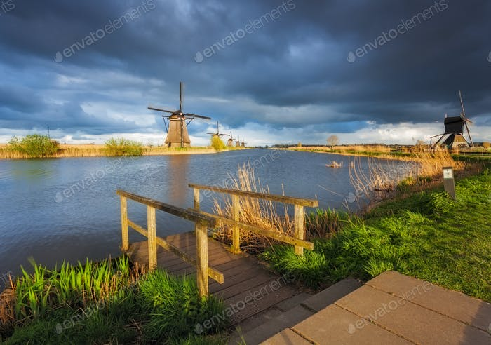 Windmills at sunset in Kinderdijk, Netherlands. Rustic landscape