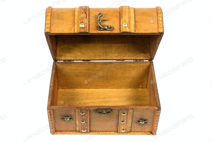 Open old wooden chest on white background