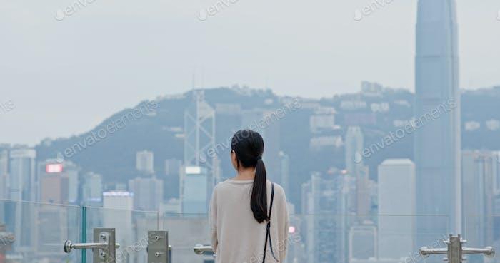 Travel woman enjoy the view in Hong Kong