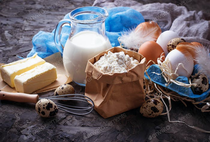 Ingredients for baking. Milk, butter, eggs, flour