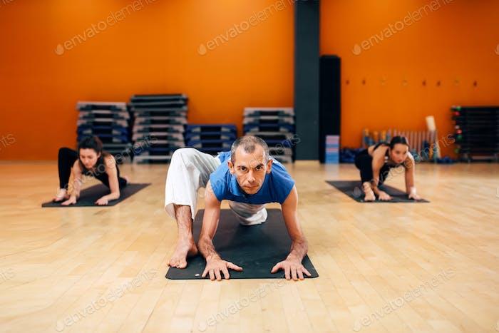 Female yoga group, training with instructor