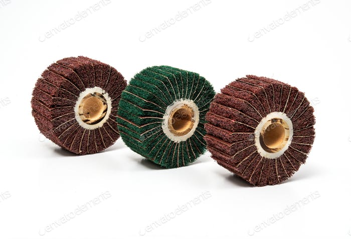 Grinding polishing felts, wheels on white background