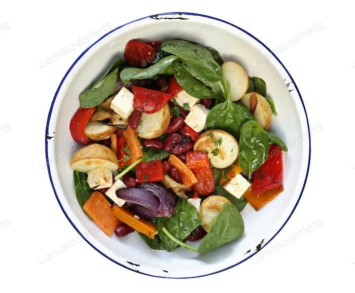 Bohnen- und Gemüsesalat