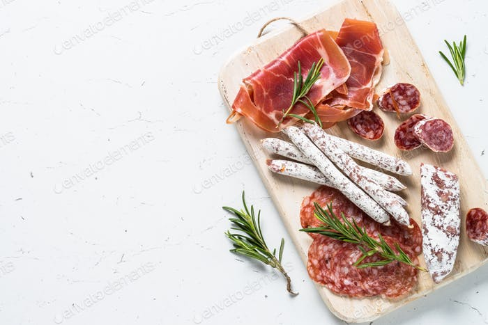 Traditional italian antipasto on white
