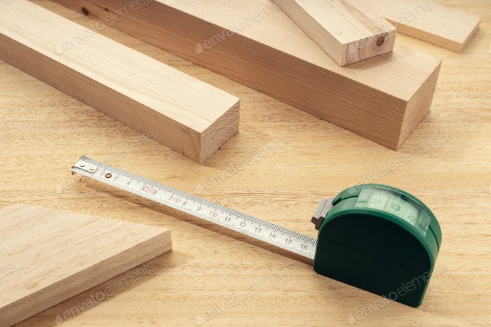 Group of assorted Wood material with a measure tape