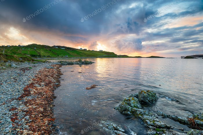 Dramatic sunset over Scourie in the Highlands of Scotland