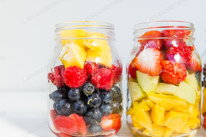 Fruit and Berry Salads in Jars