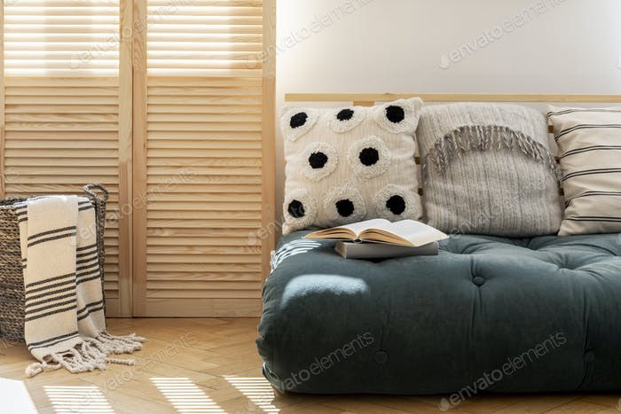 Wooden screen and scandinavian futon with pillows in spacious li
