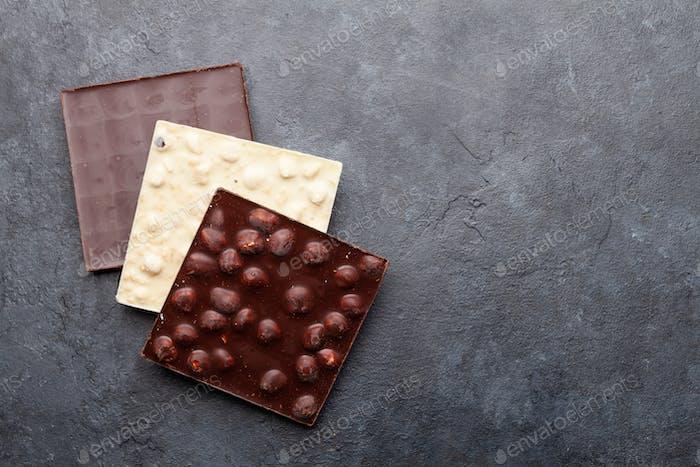 Various chocolate pieces