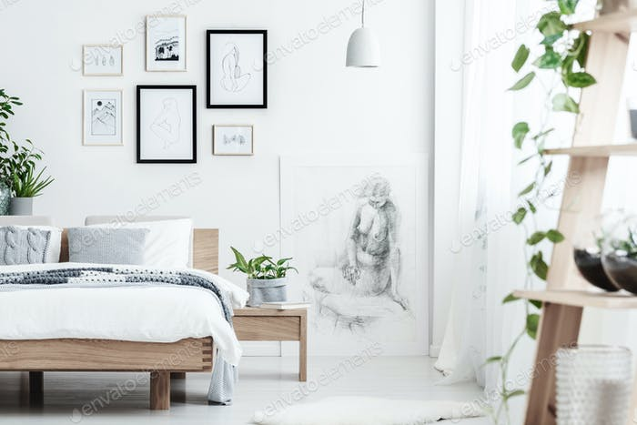 Drawing in simple bedroom