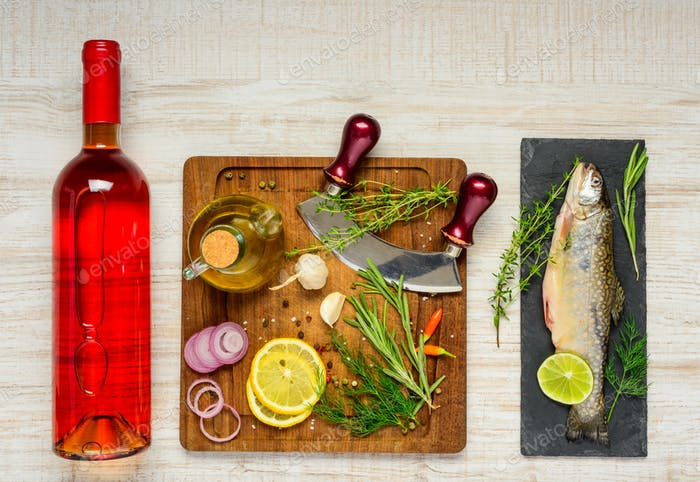 Cooking Trout Fish and Rose Wine