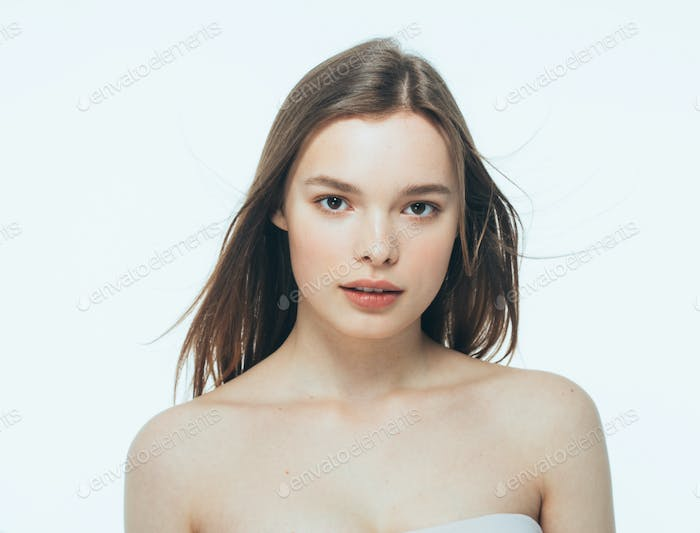 Portrait of beautiful woman beauty female model on white background