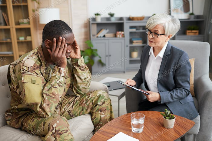 Military man with psychologist