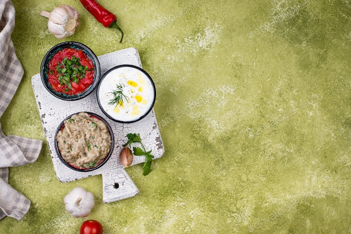 Baba ganoush, tzatziki and tomato ezme