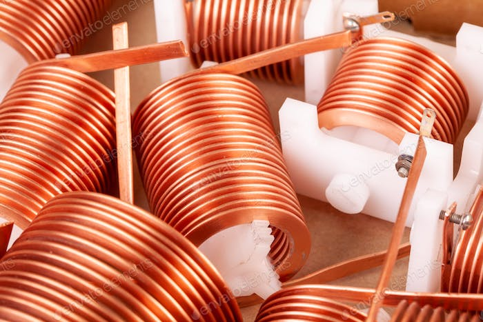 Close-up three flat copper twisted wires