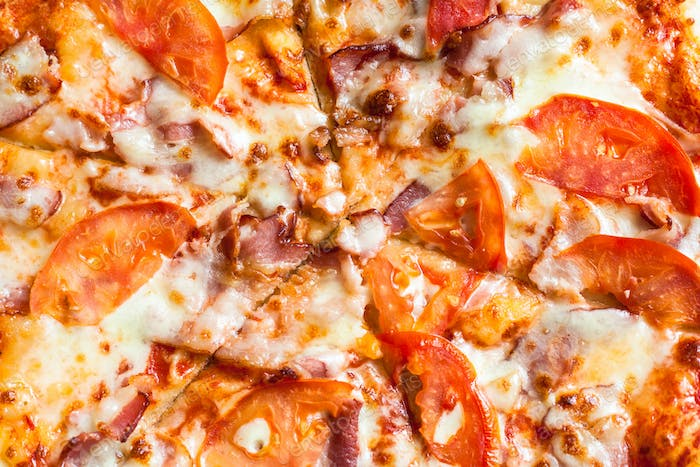 surface of Pizza with Bacon and Tomatoes