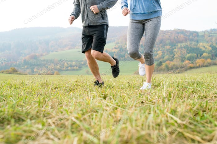 Legs of unrecognizable couple running in autumn nature