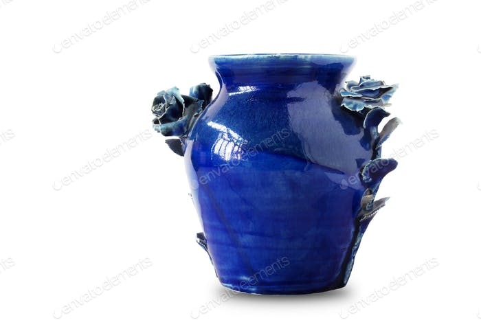 blue vase on white background