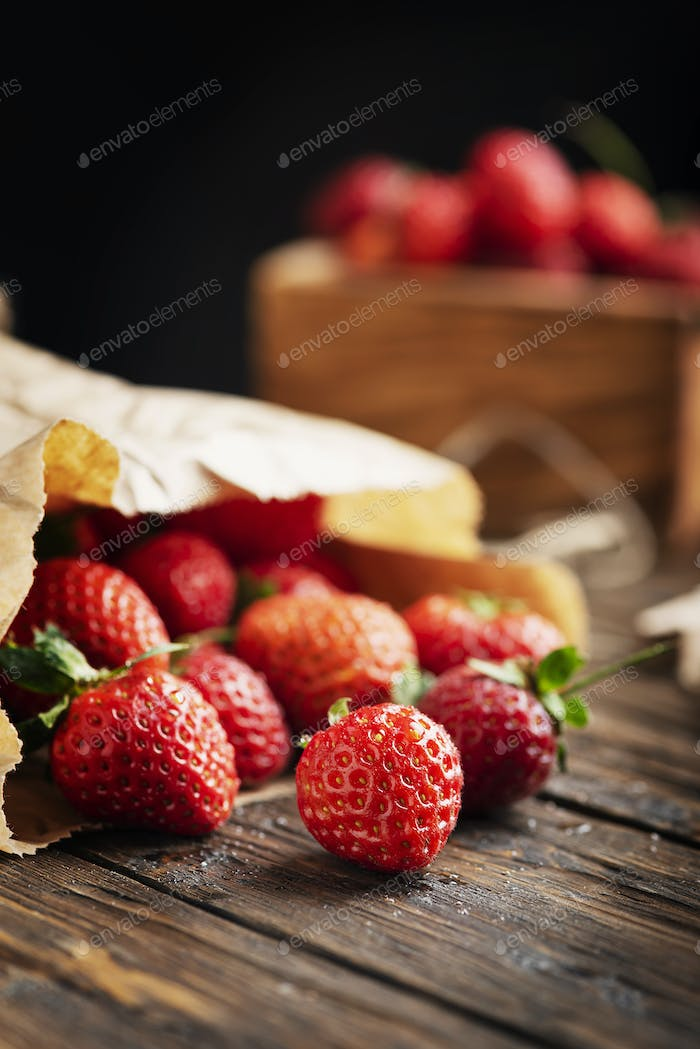 strawberry on the wooden rustic background