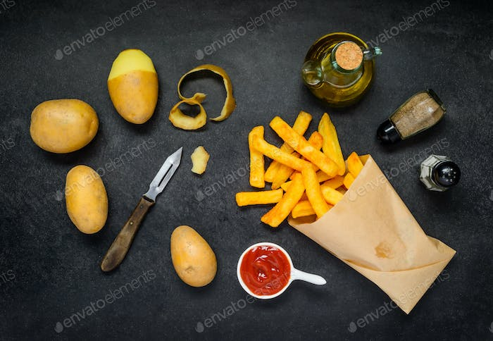 French Fries with Cooking Ingredients and Condimens
