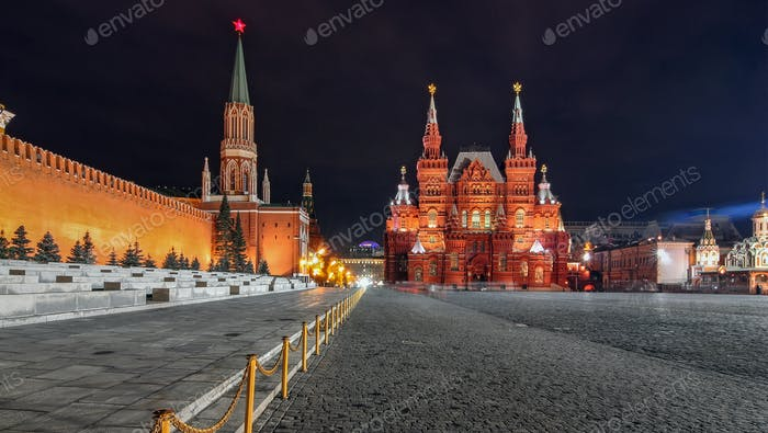 Red square by night in Moscow