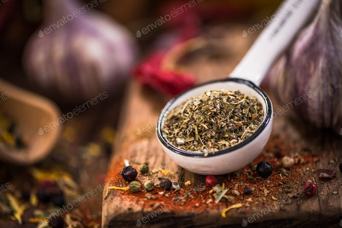 Povence herbs on spoon