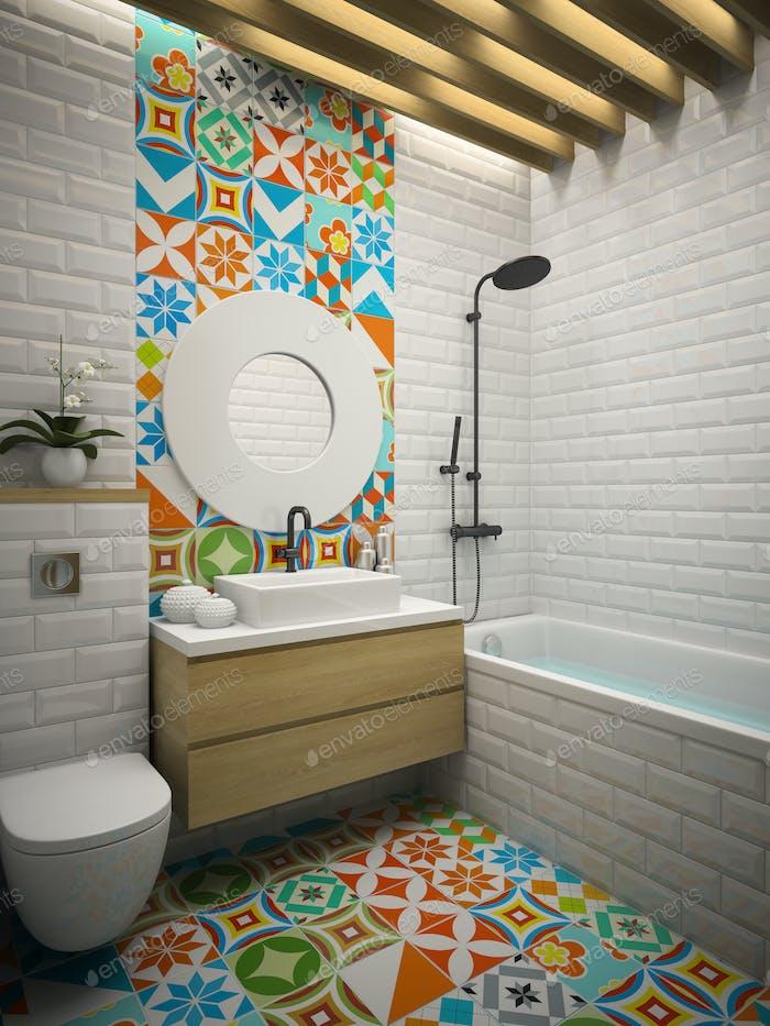 Interior modern bathroom 3D rendering