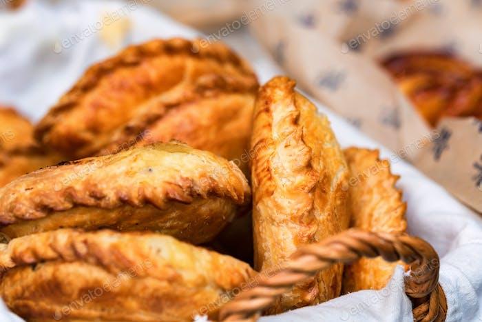 Russian pirozhki or stuffed puff pastry