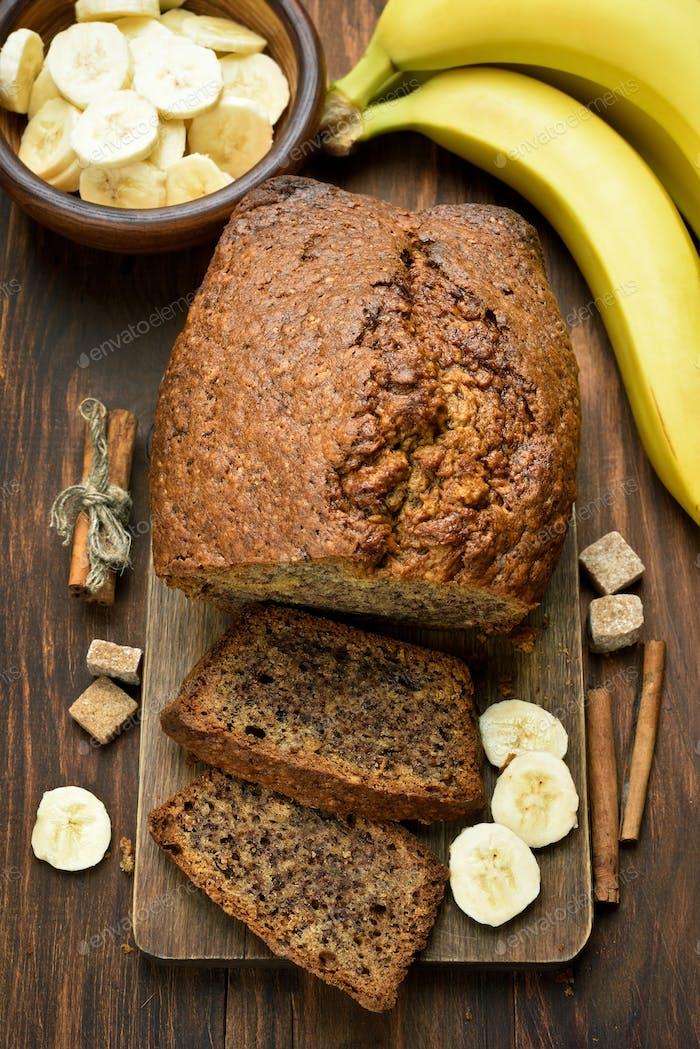 Banana bread on wooden table