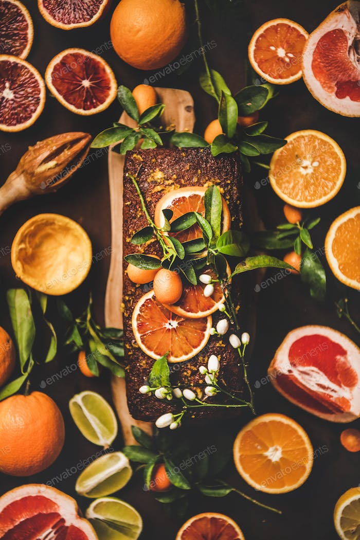 Citrus Mediterranean flourless vegan loaf cake with fresh fruits