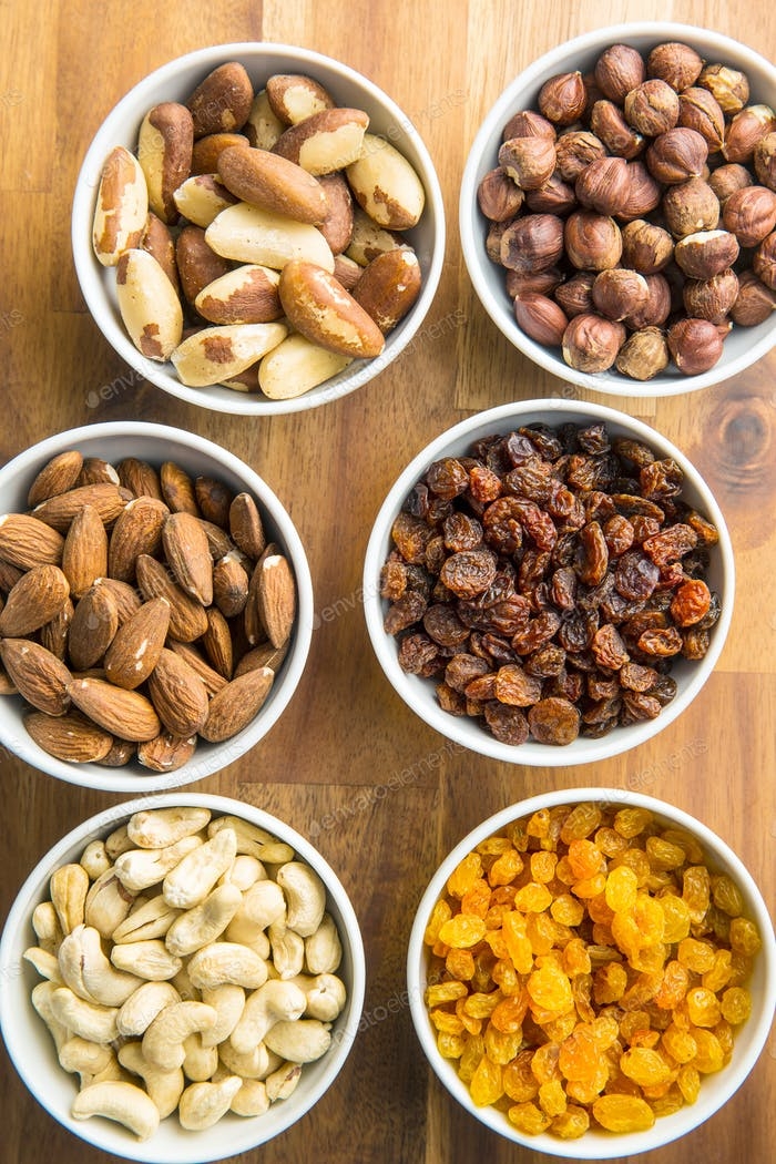 Various nuts and raisins.
